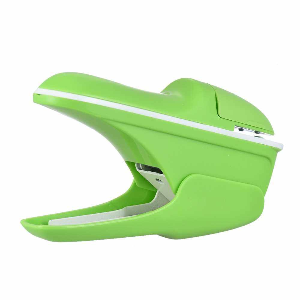 Hand-held Mini Safe Stapler without Staples Staple Free Stapleless 7 Sheets Capacity for Paper Binding Business Commercial Shop School Office (Green)