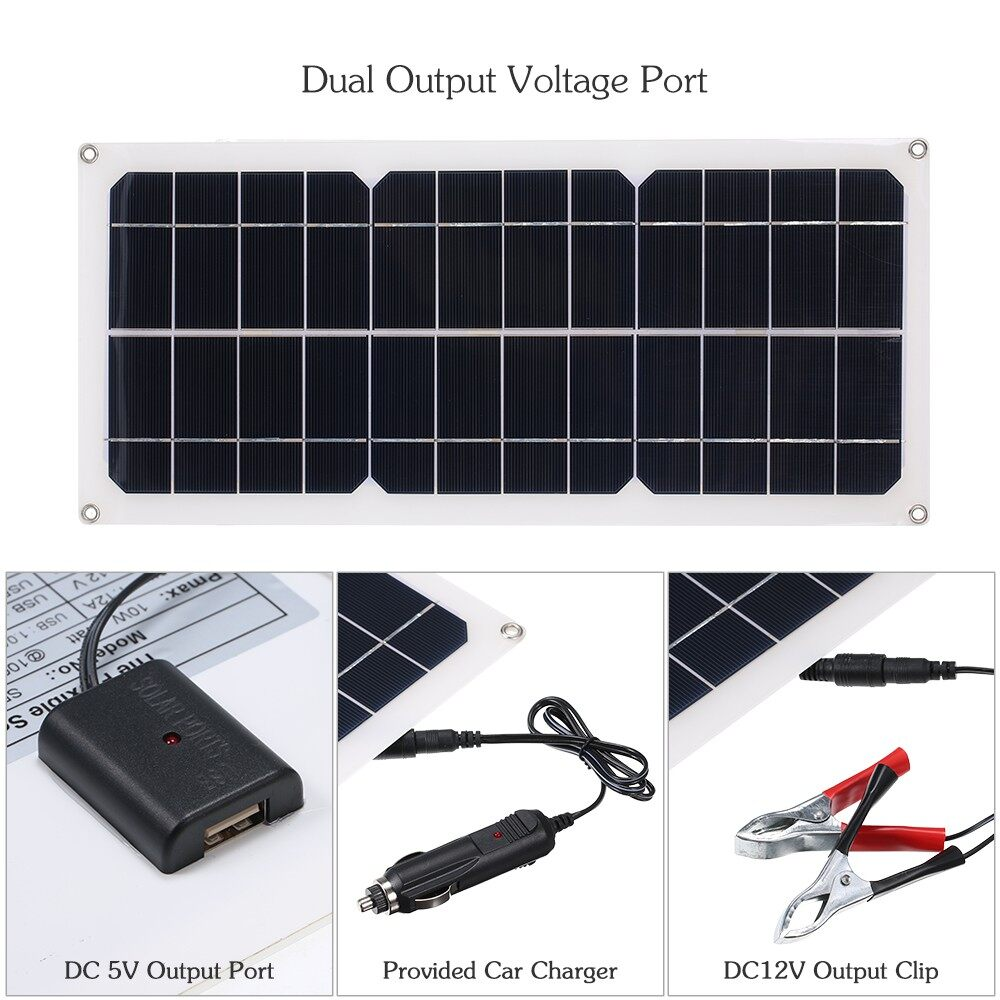 Lighting - DC5V/DC12V 10W Dual Output Solar Power Energy Charging Panel with USB Interfac - DARK GRAY