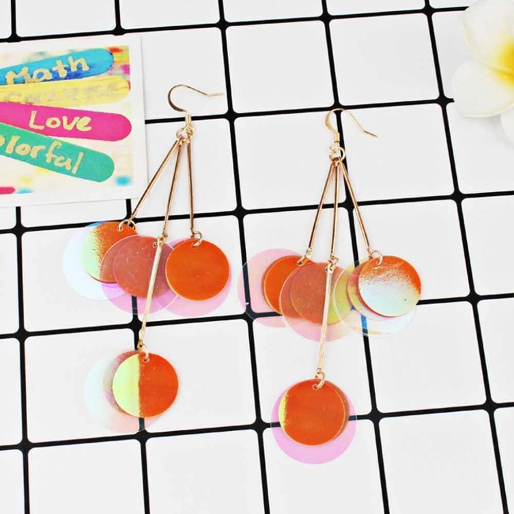 Best Selling Fashion Exaggerated Bohemian Style Glitter Paillette Earrings Women All-match Jewelry (Orange)