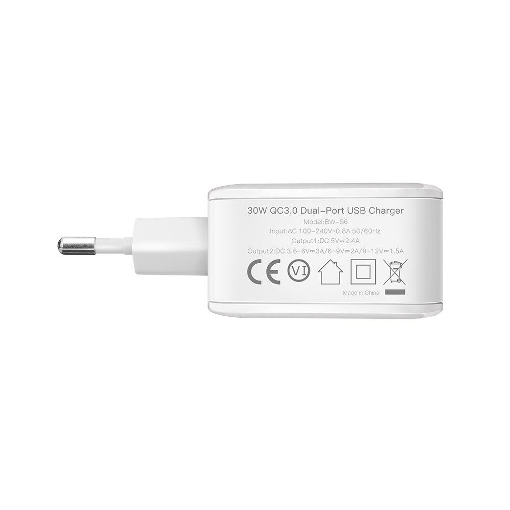 Gadgets - BlitzWolf QC3.0 2.4A 2 USB Fast Wall Charger US/EU Plug Adapter For Phone T - WHITE / BLACK