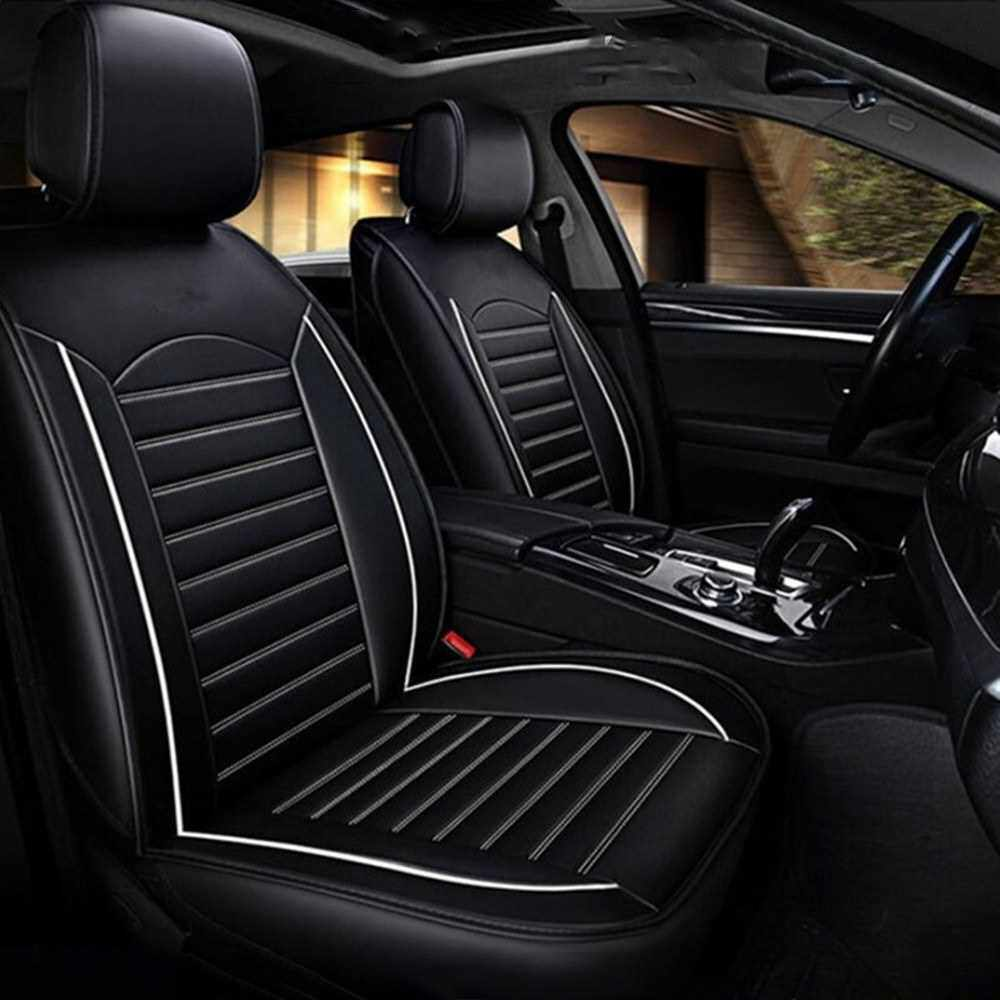 People's Choice PU Leather Auto Seat Cover Universal Car Front Seat Car Seat Protector Car Interior Accessories (Black&White)