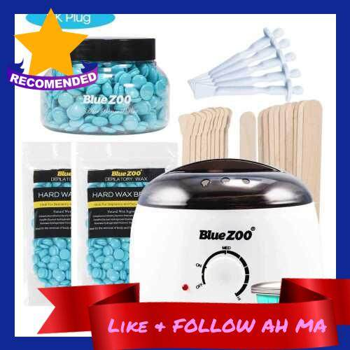 Best Selling Blue ZOO 7-in-1 Hair Removal Depilatory Set Wax Bean Warmer Heater Machine with Hard Wax Beans & Hair Removal Stick & Melting Wax Bowls (Turquoise)