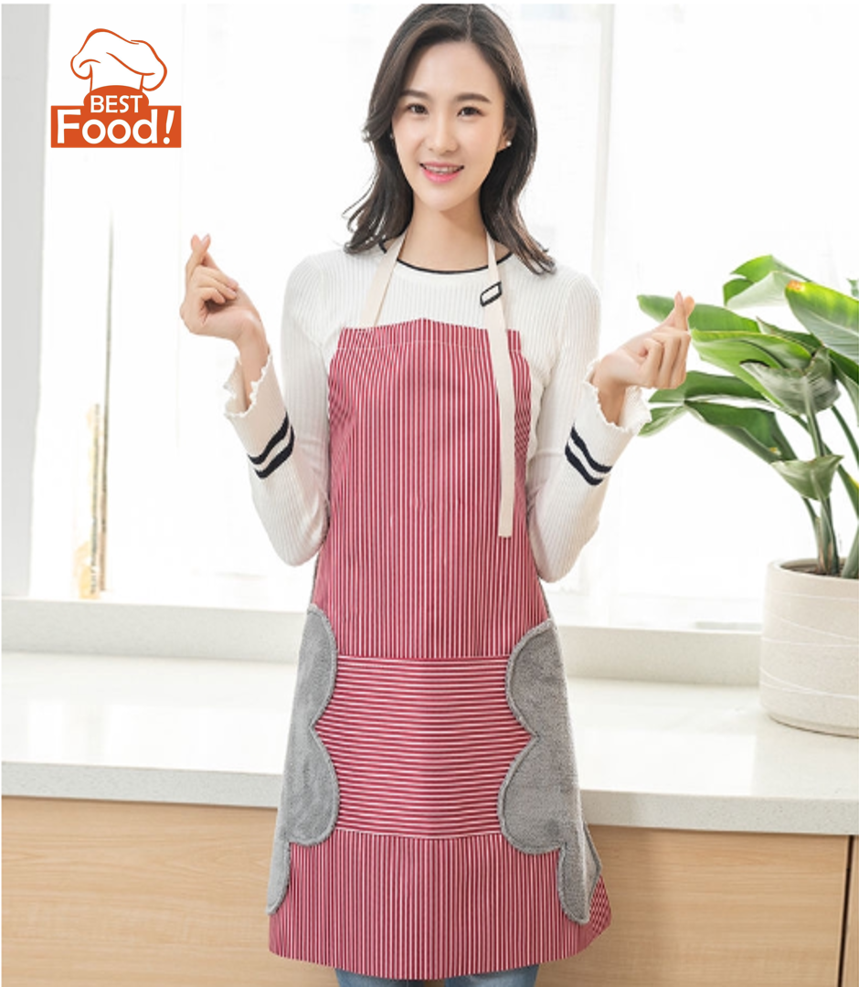 Kitchen Apron with Hand-Wipe, Waterproof, Oilproof, Large Pocket