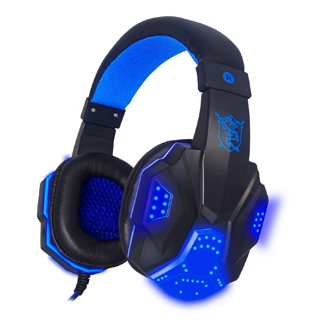 Over-Ear Headphones - PLEXTONE PC780 Gaming Head SET 3D Surround Gaming Headphones Mic/LED Light-3c - BLACK AND BLUE / WHITE ANG BLUE / BLACK AND RED