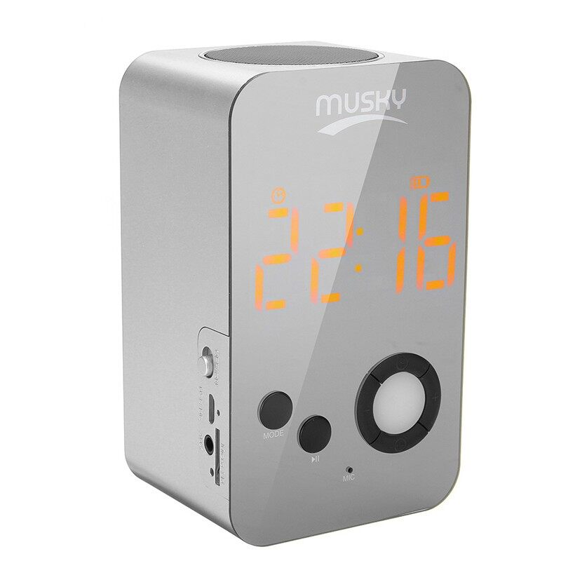 On-Ear Headphones - 2 In 1 Alarm Clock LED Mirror Speaker HIFI Bass TF Card Hands Free Speaker - GOLD / BLACK / SILVER