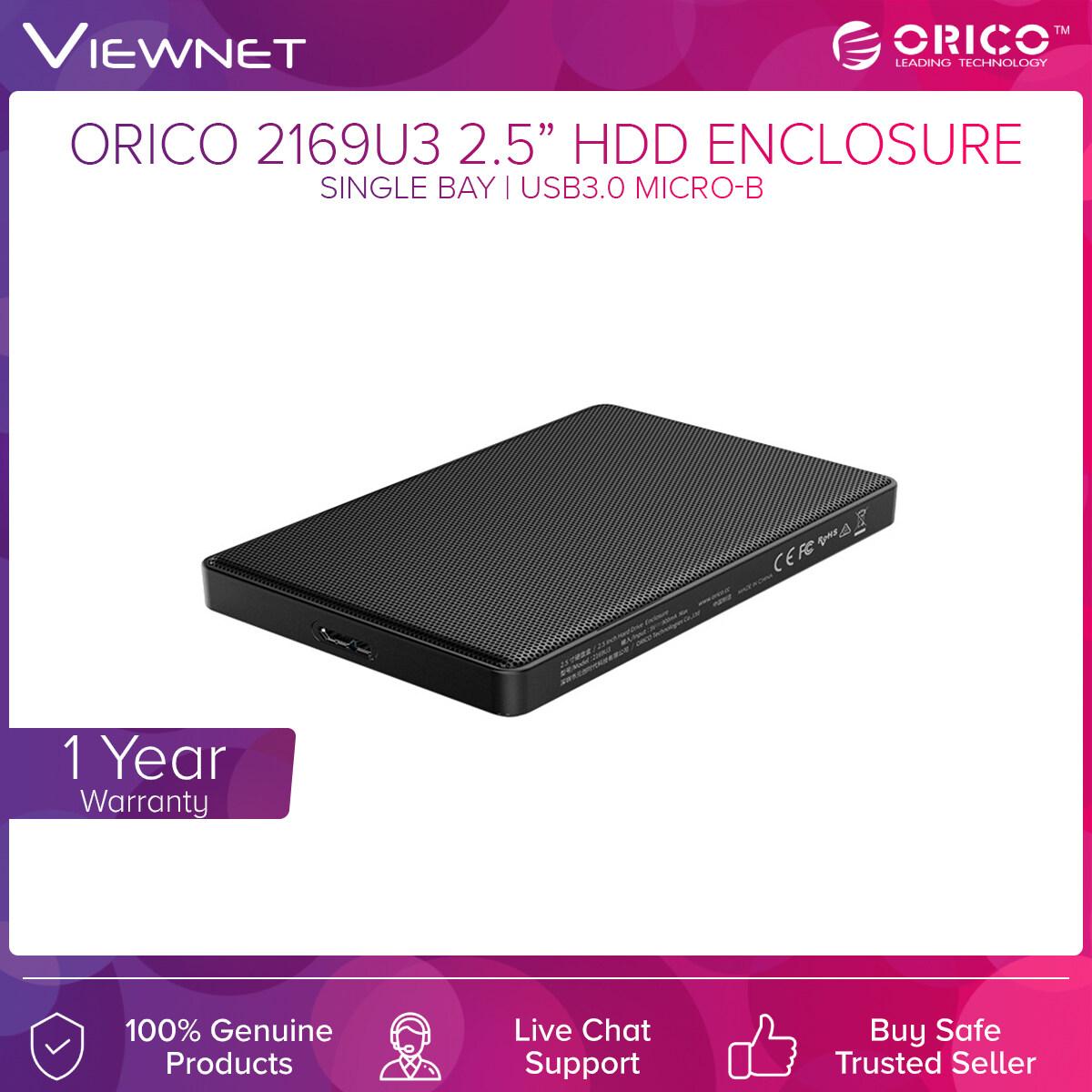 Orico2.5 USB3.0 SATA Enclosure (2169U3-BK), 5Gbps Transfer Speed, Up To 4TB Capacity,Screw Installation, Support Windows/ Mac/ Linux