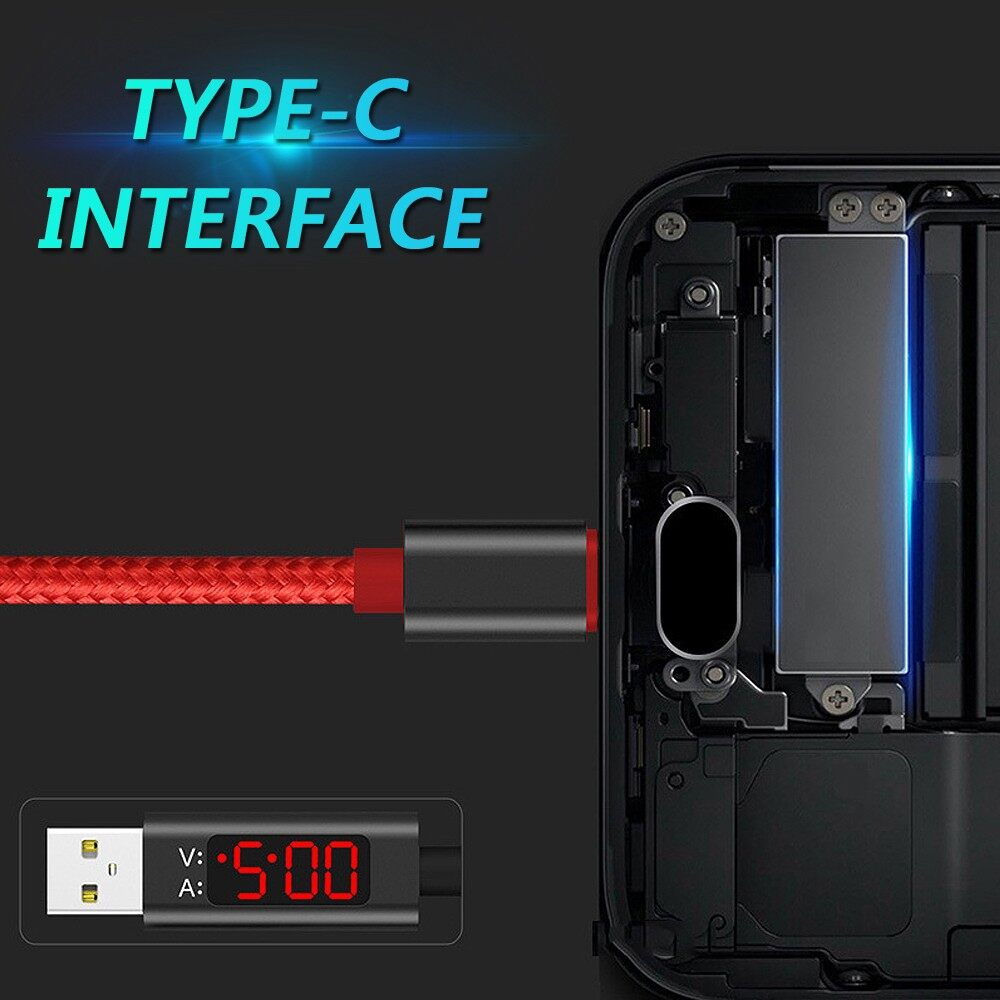 Mobile Cable & Chargers - Voltage Current LED Display Sync Charging Cable Type-C Micro USB For Android - RED / BLACK