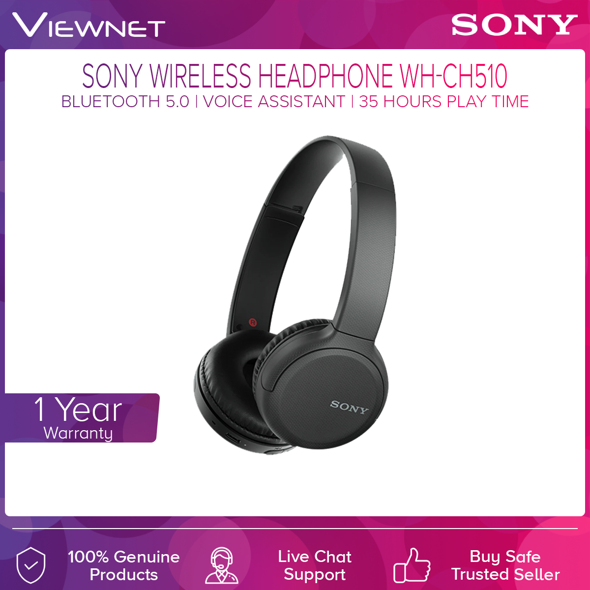 Sony WH-CH510 Wireless Bluetooth Headphones 35Hours battery life 30mm Driver unit Lightweight Bluetooth wireless