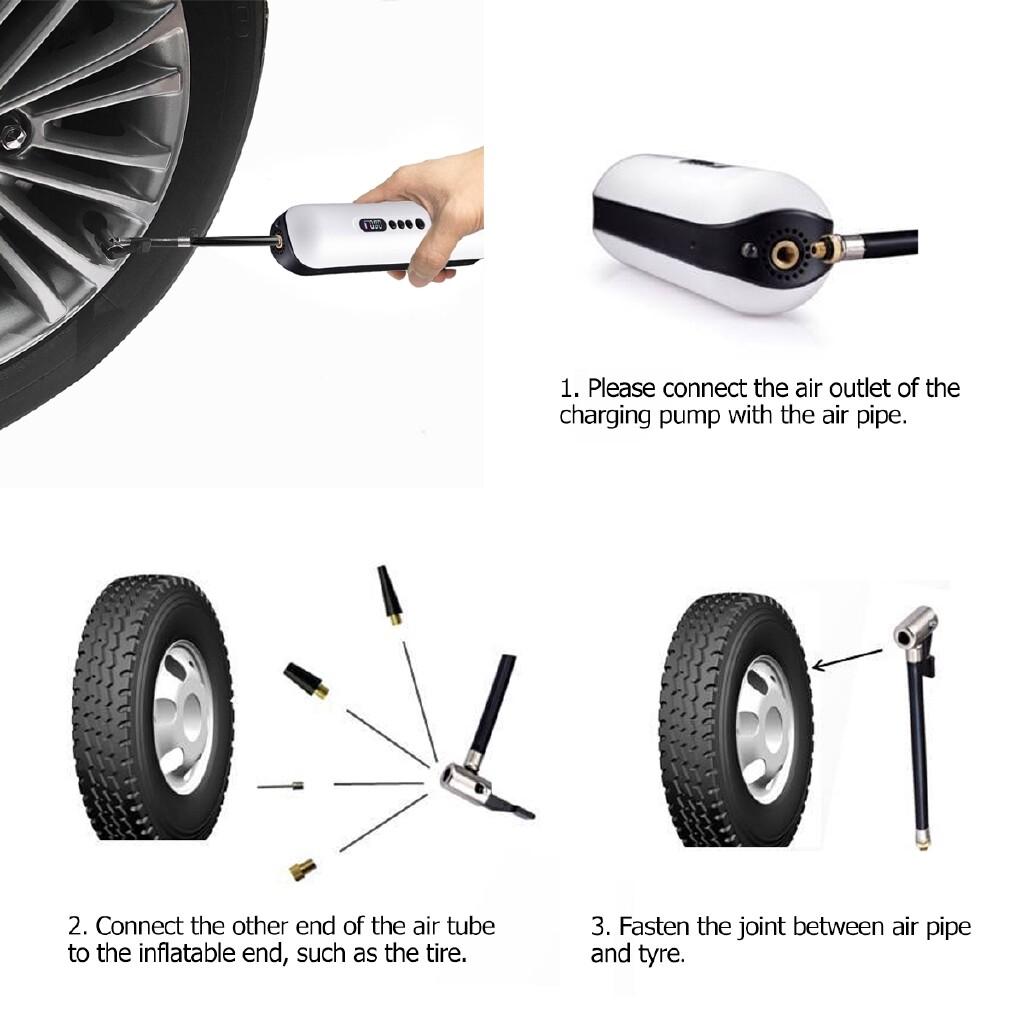 Cycling Apparel - 12V PORTABLE Cordless Air Compressor Tire Inflator Digital LCD Pump For Car Bike