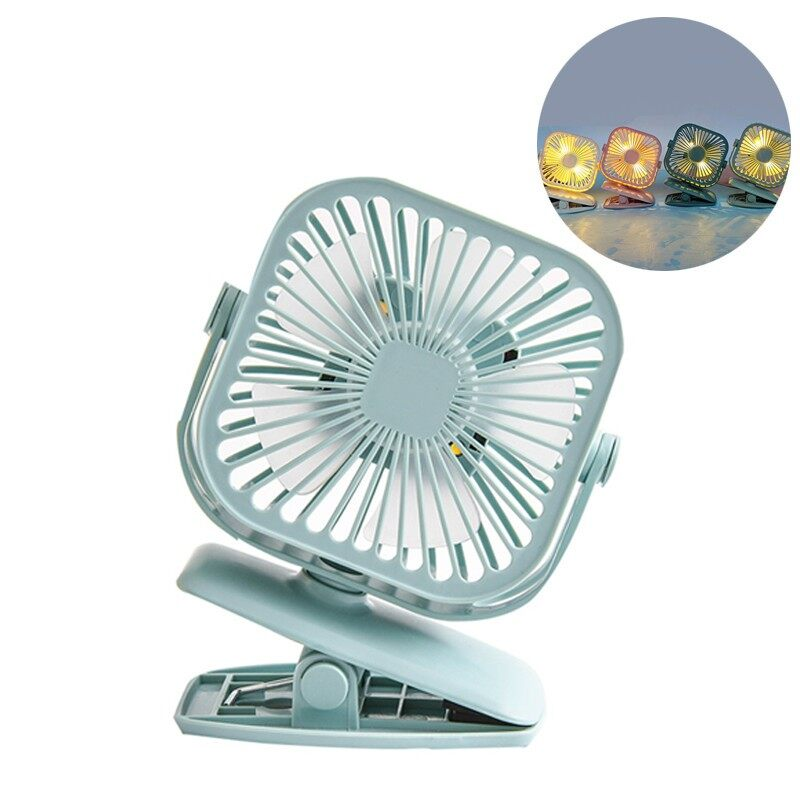 YS2908 360 Adjust LED Light Small Kipas MINI Clip Fan Cooling PORTABLE Hand Table Baby - WHITE / BLUE / GREEN / PINK