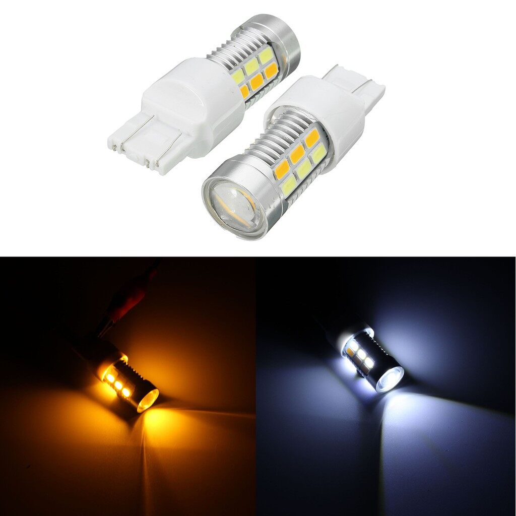 Engine Parts - 2X 12V 22 LED 7443 7440 580 T20 Amber & White Turn Signal Indicator Light Bulbs - Car Replacement
