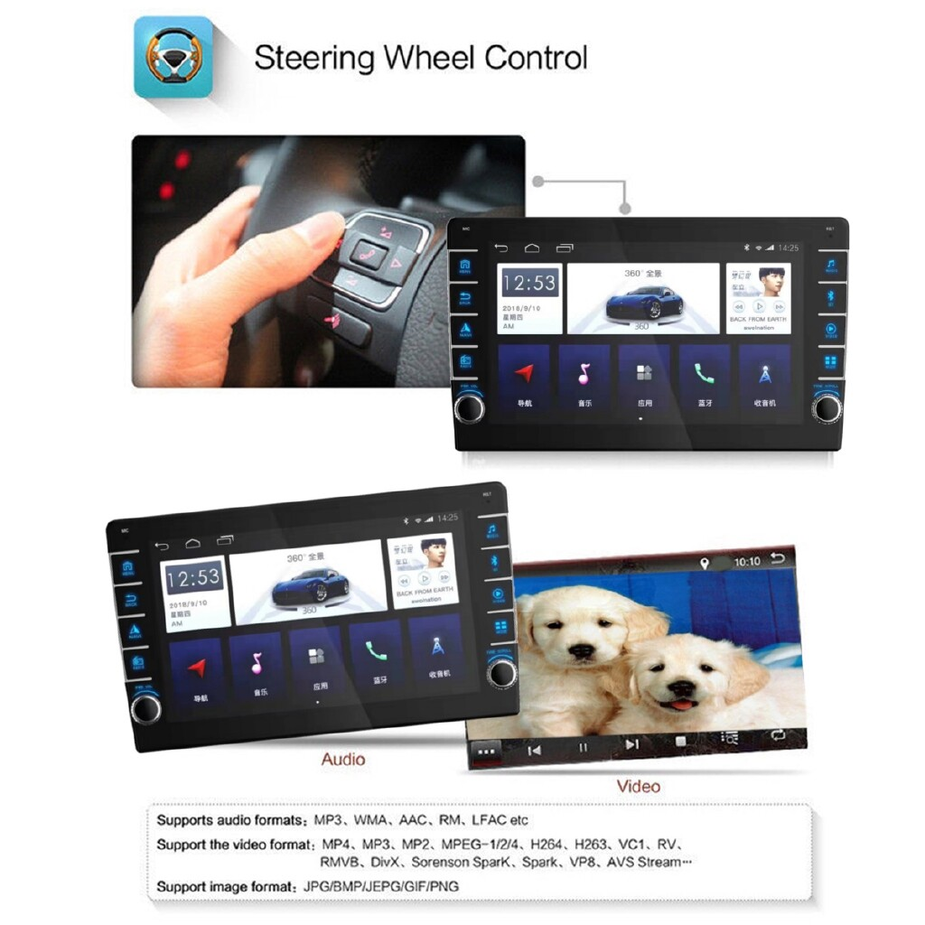 Car Multimedia Players - 10.1 Inch 2Din for Android 8.0 Car Stereo Radio Quad Core 1+16G IPS Touch Screen MP5 Player - Electronics