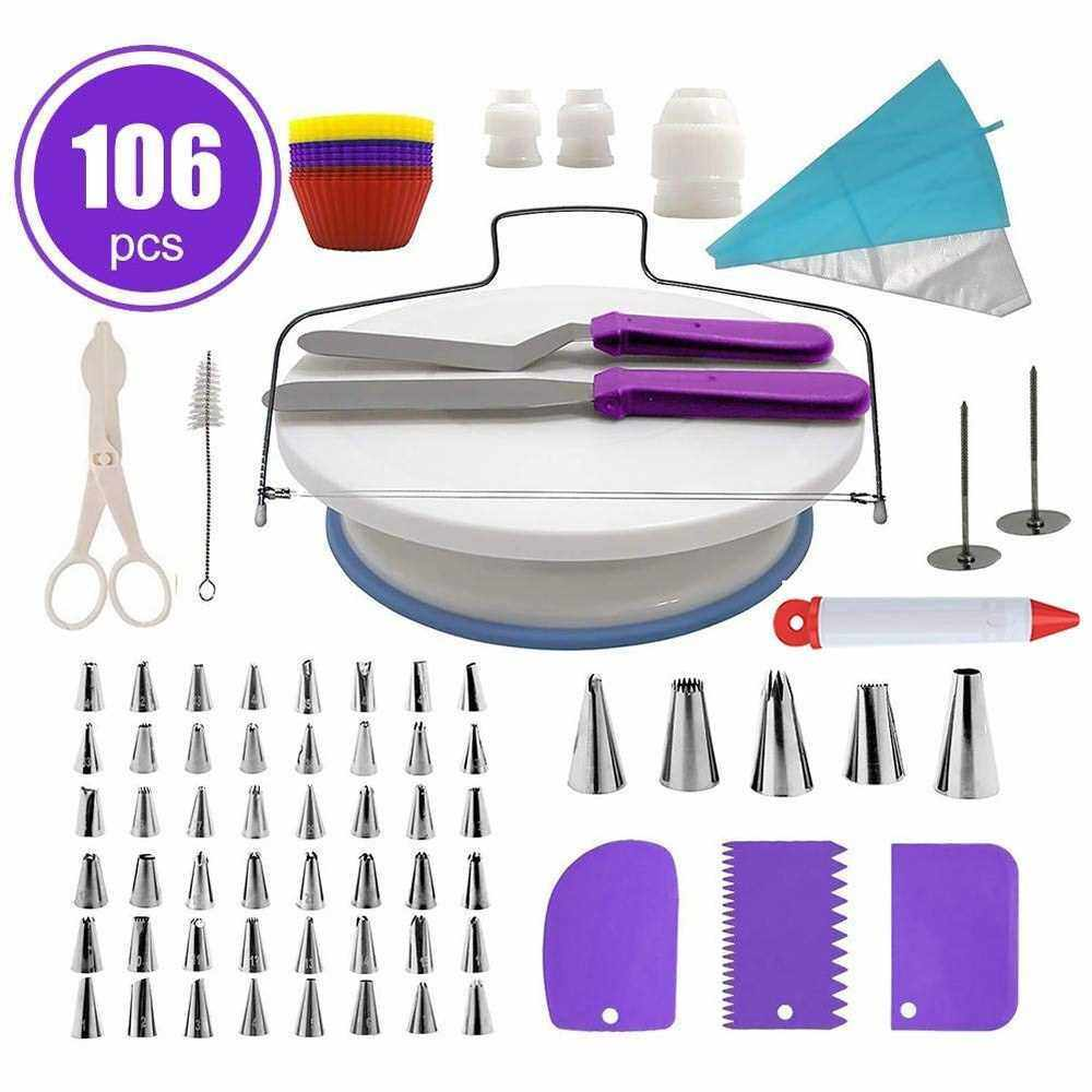 CakeDecor Stainless Steel Cake Decorating Supplies Cake Turntable 106PCS/Set DIY Cream Tools (Purple)
