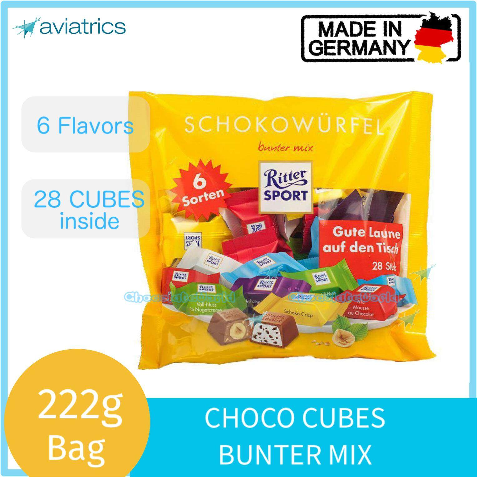 Ritter Sport Choco Cubes Bunter Mix 222g (Made in Germany)