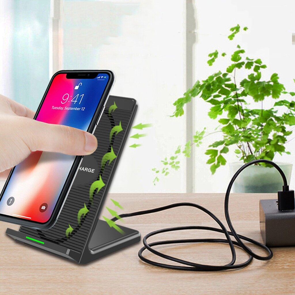 Chargers - QI WIRELESS Fast Charger Holder Dock + Cooling Fan LED - Cables