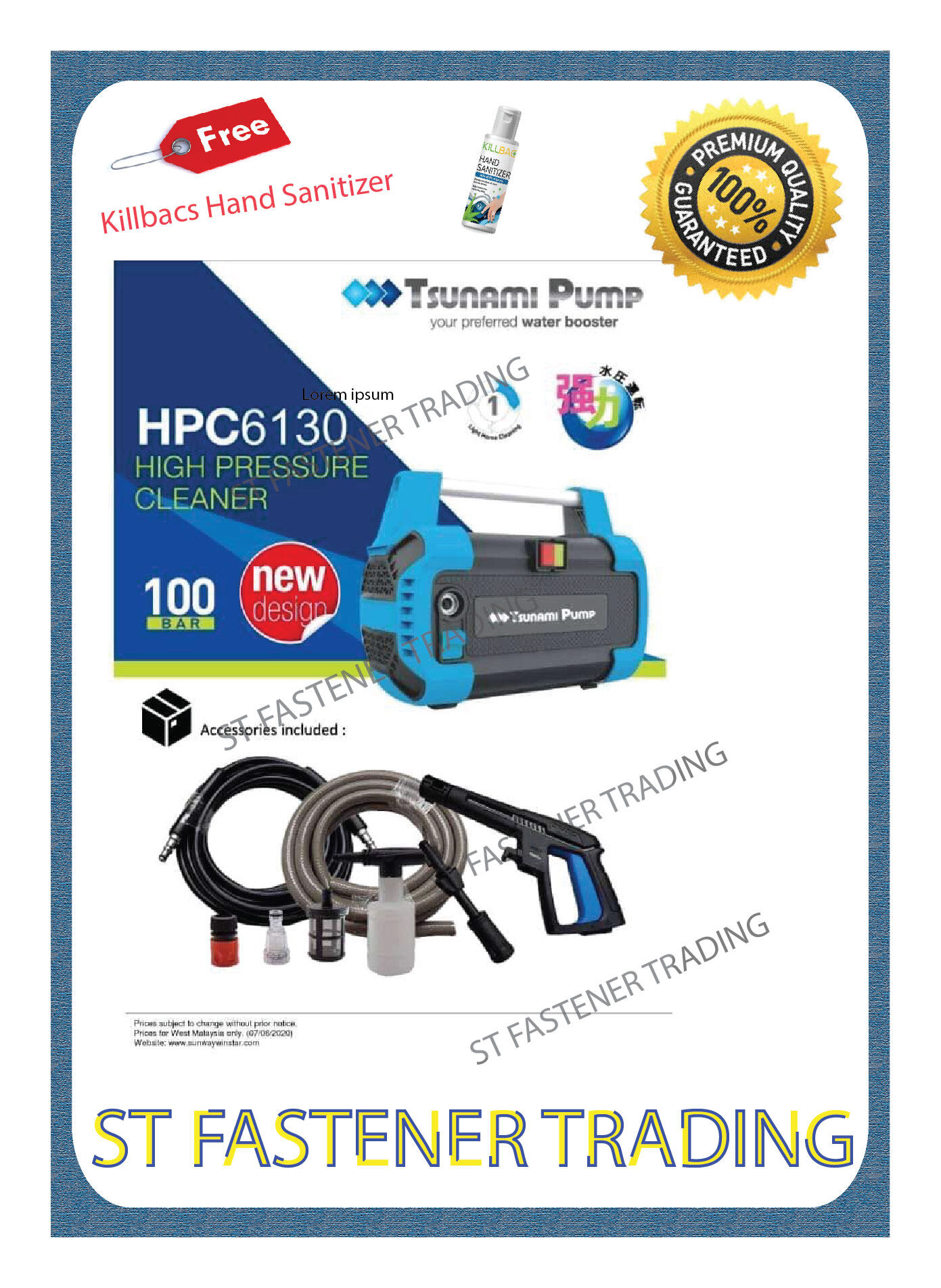 TSUNAMI PUMP 1300W High Pressure Cleaner Water Jet Cleaner HPC6130