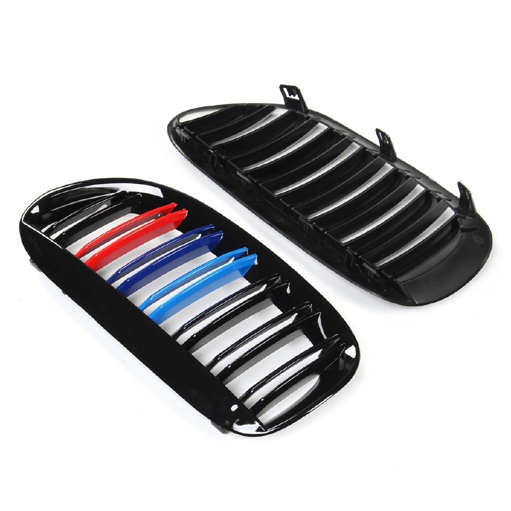 Car Replacement Parts - 2x Gloss Black M-Color Front Grilles For 2004-2009 BMW 6 Series E63 E64 Coupe - Automotive