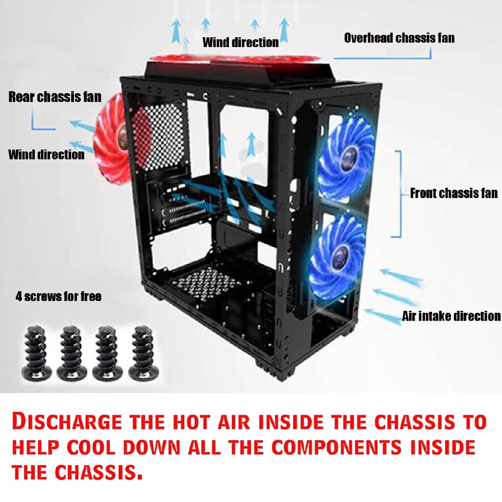 Keyboards - 12CM 12V Computer CPU Cooling Fans 3Pin + 4Pin LED Light Neon PC Case Fan 120mm - Computer Accessories