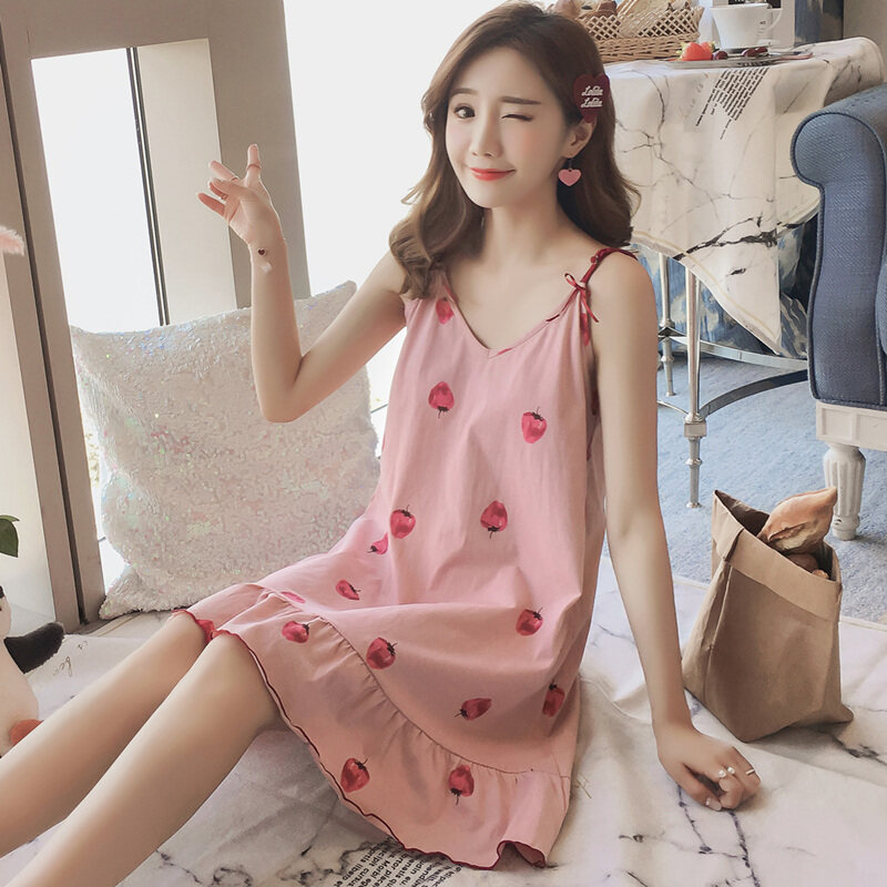 (PRE ORDER) STAY AT HOME WOMEN NIGHTDRESS SEXY CUTE LOOSE COTTON PAJAMAS