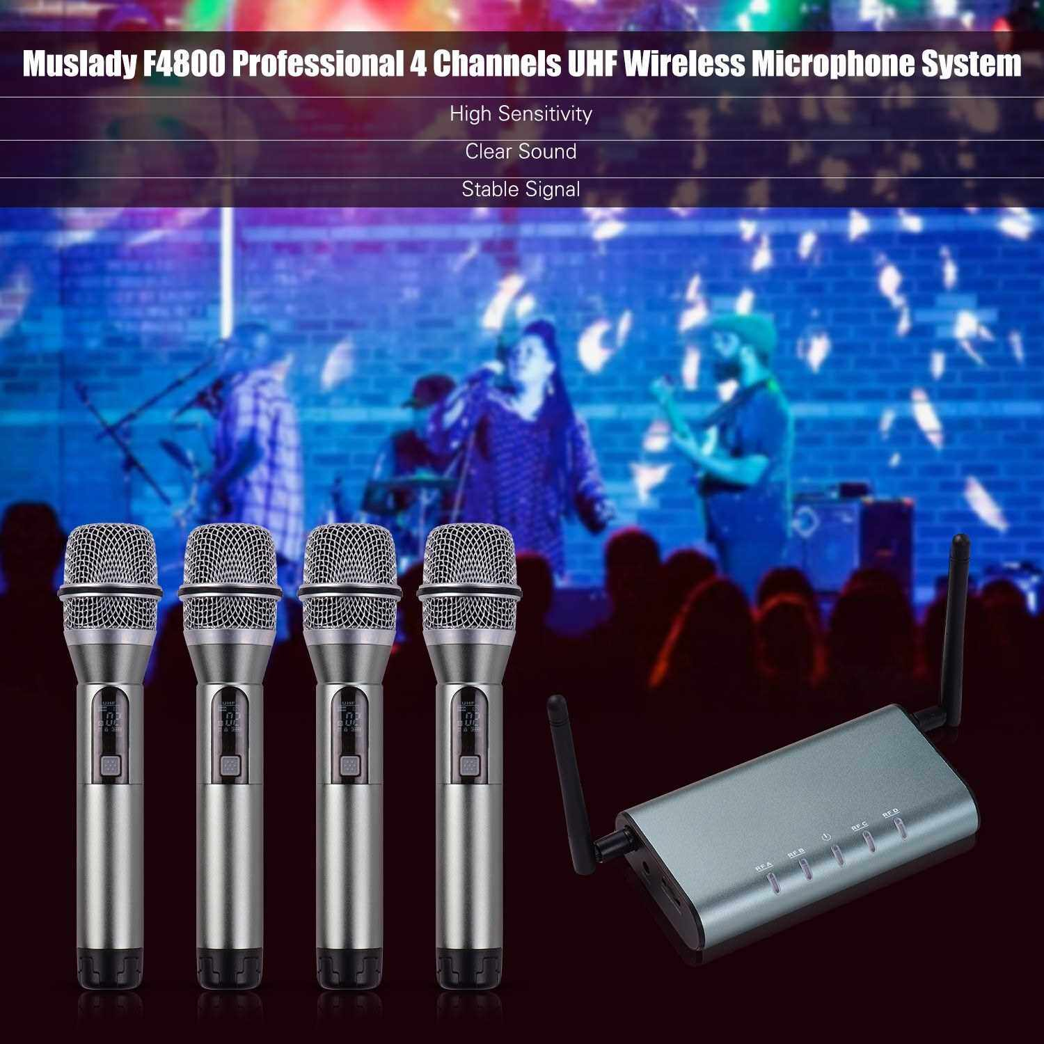Muslady F4800 Professional 4 Channel UHF Wireless Microphone System 4 Handheld Microphones 1 Wireless Receiver 6.35mm Audio Cable LCD Display for Stage Karaoke Party Presentation Performance Public Address (Chrome)