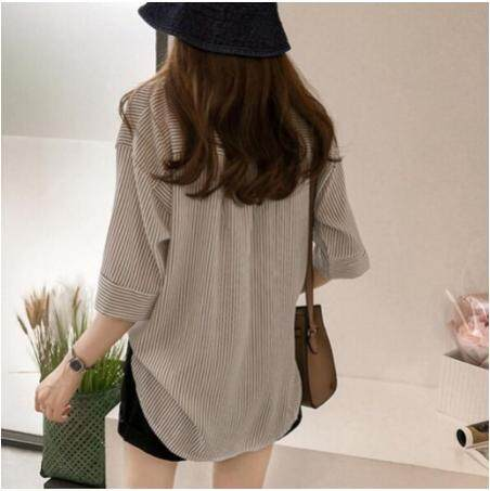 Korean Women Casual Stripe V Collar Half Sleeve Tee Shirt Blouse