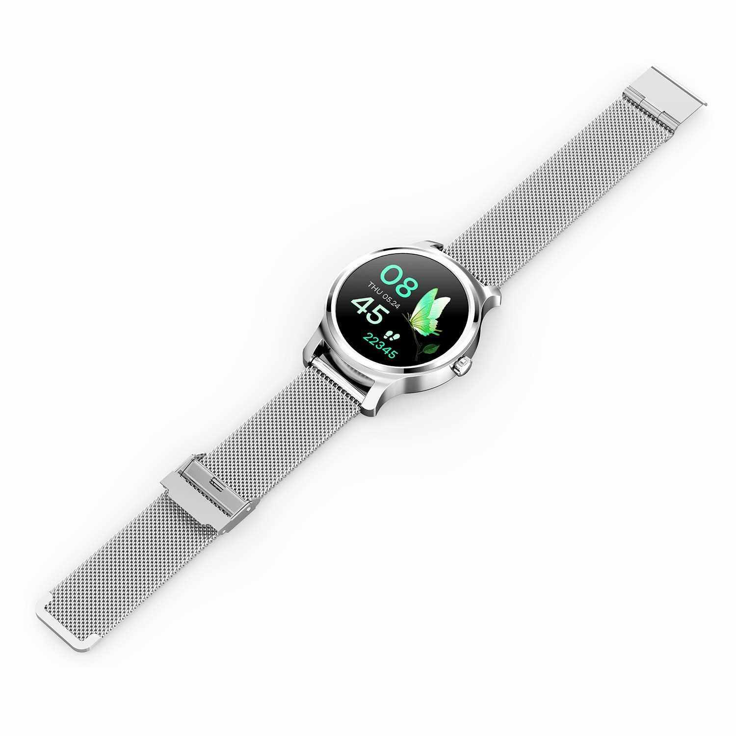 SMA-R2 Smart Watch Round Touch Screen Silicone Band Waterproof Call Reminder Step Count Sleep Heart Rate Fitness Monitoring Couple Men Women Sports Smartwatch (Silver)