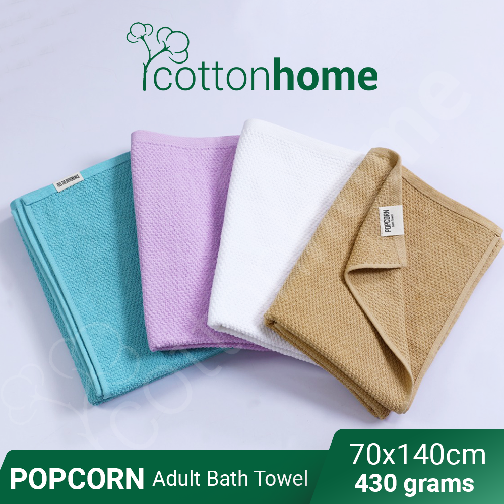 PopCorn Adult Bath Towel: Famous Bath Towel -430 grams - Quick Dry : Very Good absorbent , Nice Fabric, mandi dewasa towel with hook