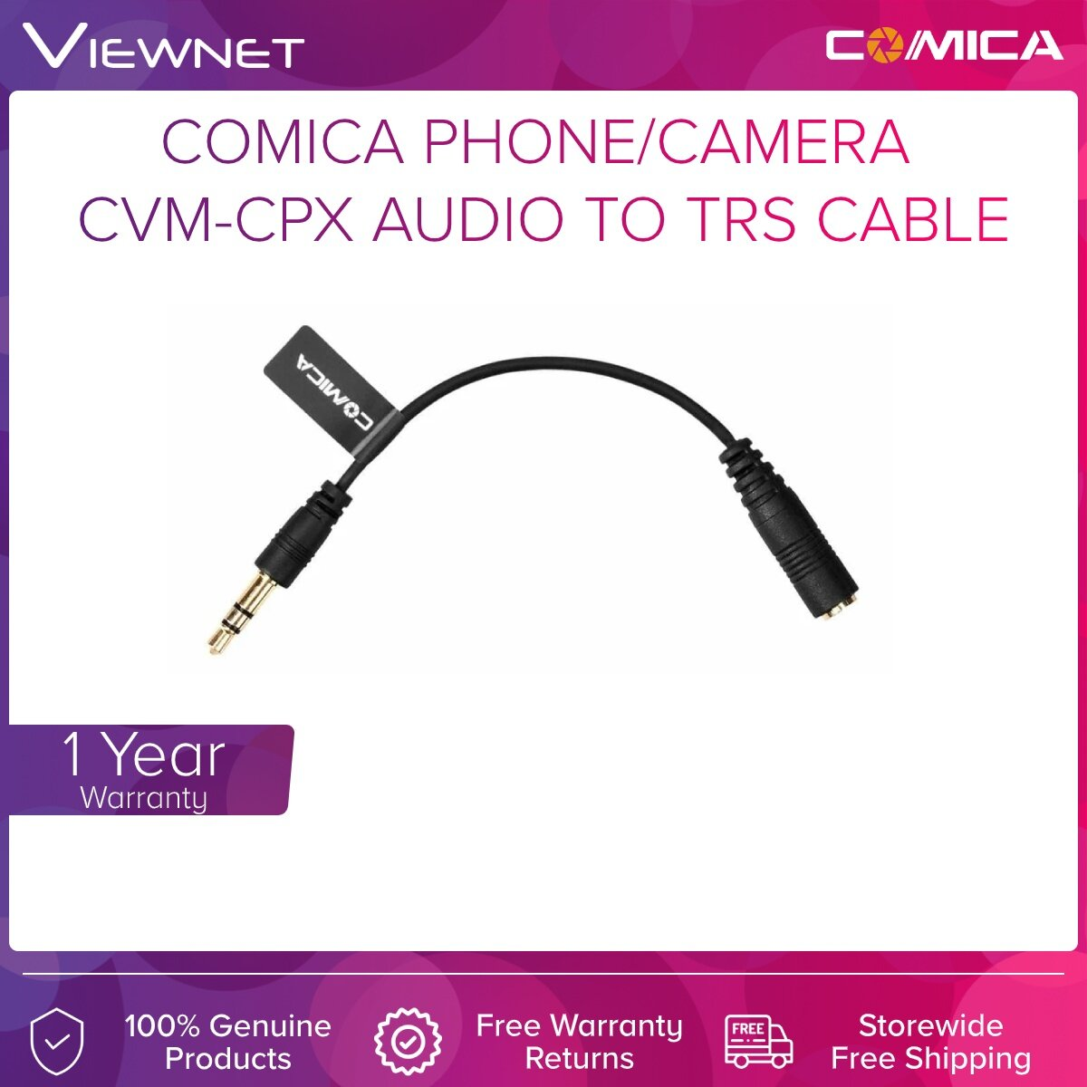 COMICA PHONE/CAMERA MIC ACCESSORIES CVM-CPX AUDIO TO TRS CABLE #1YEAR WARRANTY
