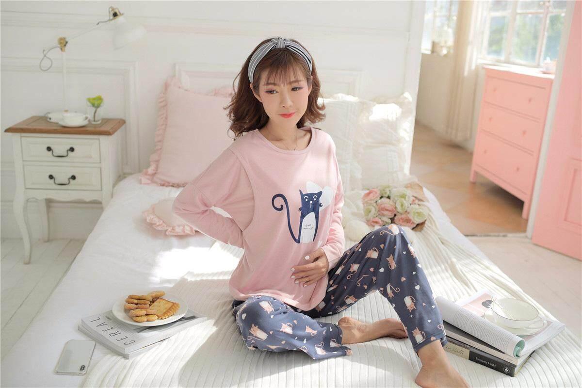 Maternity Pregnant Sleepwear Breast Feeding Long Sleeve Nightwear Pajamas Baju Semasa Panjang Baju Menyusu Wanita Confinement Period Set ( Blouse + Pants )