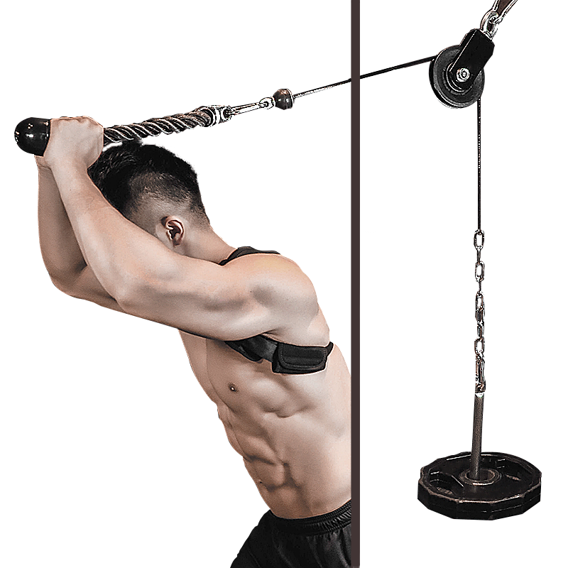 FITUALIZED Cable Machine Pulley Attachment Sets System With The Option Of Adding Triceps Rope for Minimalist Home Gym, Fitness Studio - Wheel Bearing - Chest Crossovers - LAT Pull -Triceps Extension - Biceps Curl - Workout Accessories- Easy DIY- Fits 2""