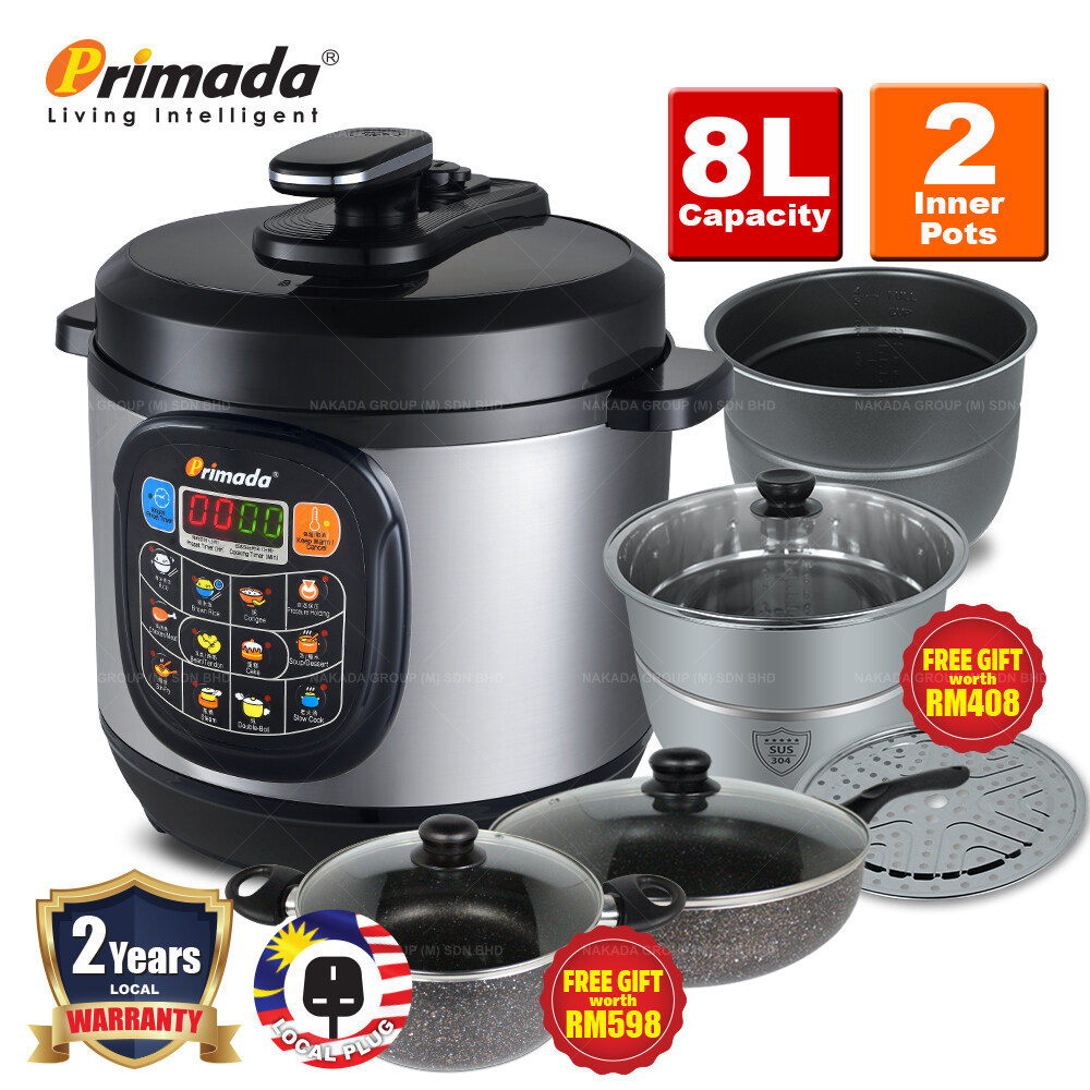 Primada 8 Liter Jumbo Pressure Cooker PC8030 + FREE MARBLE SET/ELECTRIC MULTICOOKER/2 SS POTS/BBQ STEAMBOAT POT PC8030 FREE MARBLE SET
