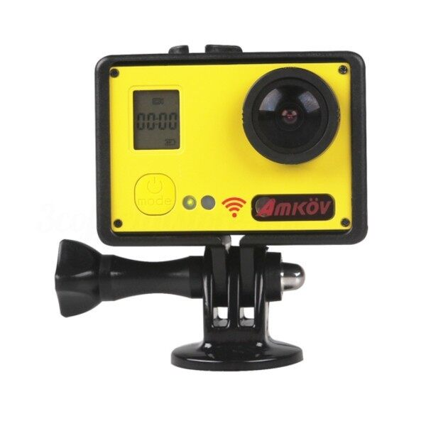 Sports & Action Cameras - Amkov 1080P HD 60fps WiFi Action Camera with Remote Controller Sunplus_3C - YELLOW / WHITE / BLACK