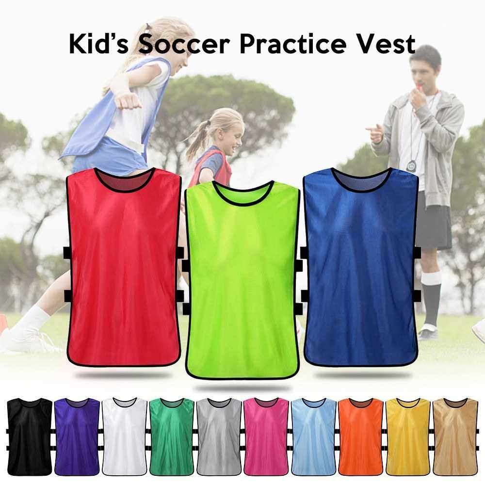 People's Choice 12 PCS Kid's Soccer Pinnies Quick Drying Football Jerseys Youth Sports Scrimmage Practice Sports Vest Team Training Bibs (White)