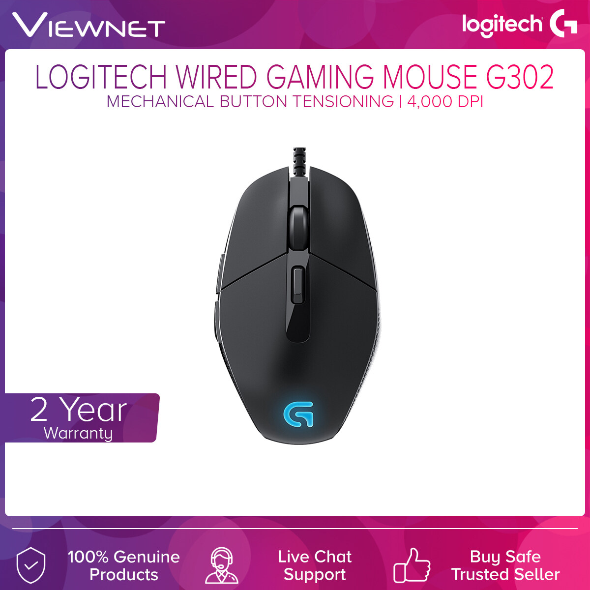 Logitech Wired MOBA Gaming Mouse G302 Daedalus Primise with Mechanical Button Tensioning, 6 Programmable Buttons, Built for Gaming Performance (910-004210)