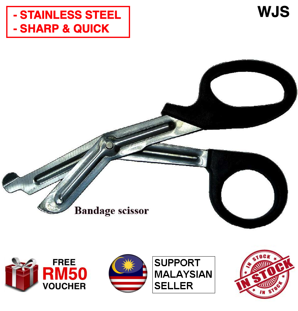(SHARK AND QUICK) WJS Tactical Bandage Scissor Multi-function Stainless Steel Rescue Bandage Scissor for Emergency First Aid Shears Outdoor Bandage Scissors Gunting Medical Scissors BLACK [FREE RM 50 VOUCHER]