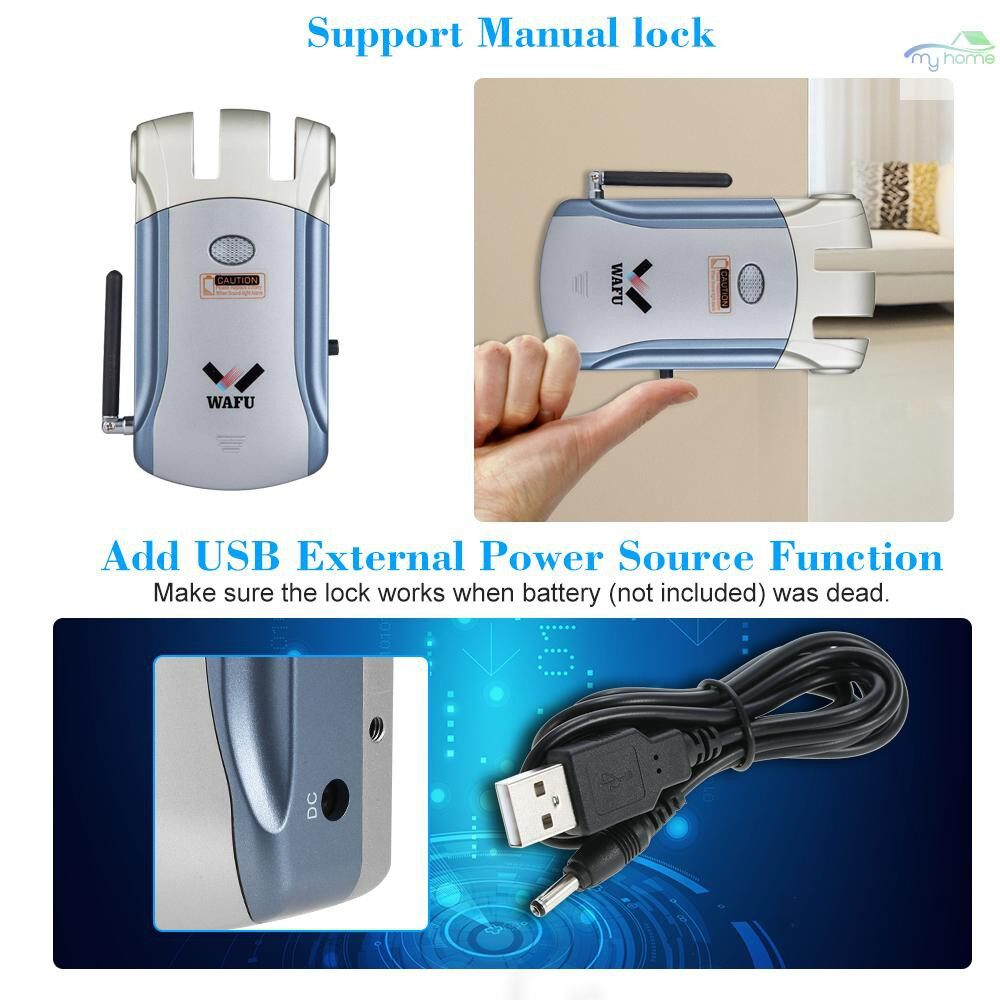 Chains & Locks - WAFU Door Lock WIRELESS Remote Control Smart Electronic Lock Invisible Keyless Entry Door Lock with - BLUE&SILVER / SILVER / GOLD&BLUE / GOLDSILVER / BLUESILVER