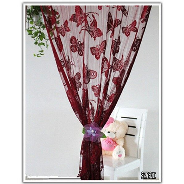 Curtains & Blinds - Butterfly String Curtain Tassel Drape For Wall Vestibule Door Window _3C - PURPLE / GREEN / YELLOW / RED / ROSE / SKY BLUE / BLUE / BLACK / ORANGE / WINE RED