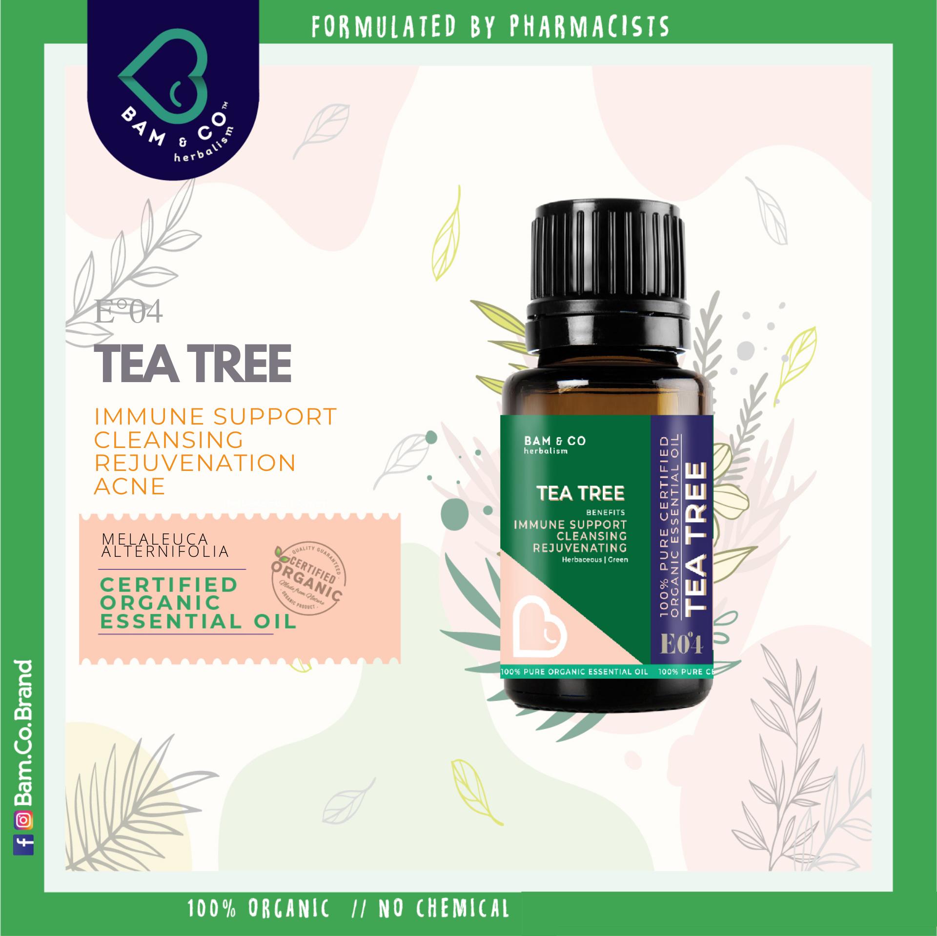 BAM & CO. TEATREE Melaleuca Tea Tree CERTIFIED PURE ORGANIC ESSENTIAL OIL Antiseptic Antibacteria PERFECT FOR HUMIDIFIER 5ML 10ML
