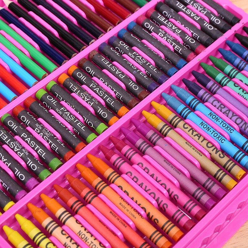 150Pcs Art Set Children Kid Watercolor Brush Crayon Painting Learning Colour Paint 150件套儿童绘画美术用品 六一儿童节礼物水彩笔画笔文具套装