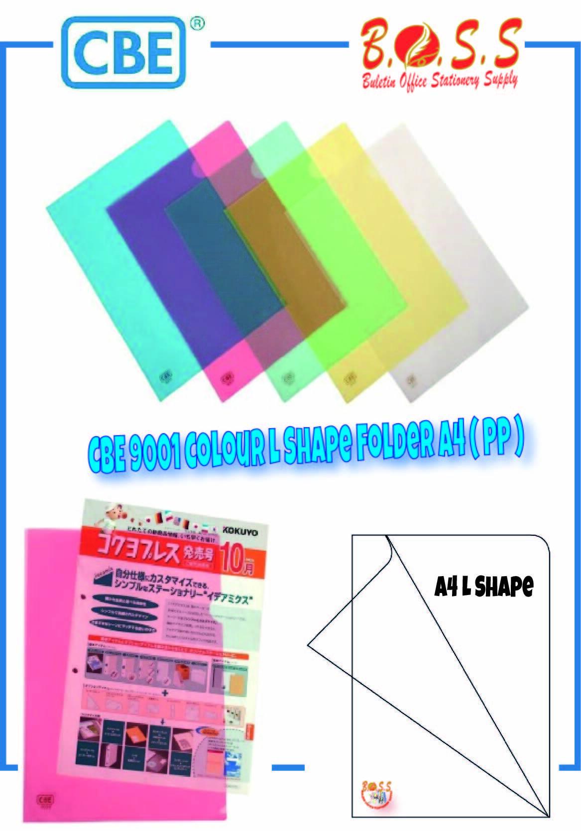 [Ready Stock]4pcs CBE 9001 A4 PP Colour L Shape Folder