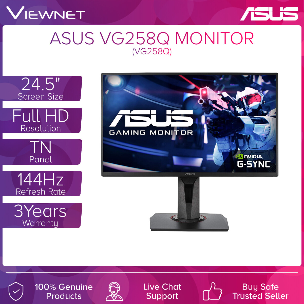 Asus LED Flat Gaming Monitor 24.5'' VG258Q (TN-FHD-1MS-DVI-HDMI-DP-SPK-VESA-FSYNC-144HZ)