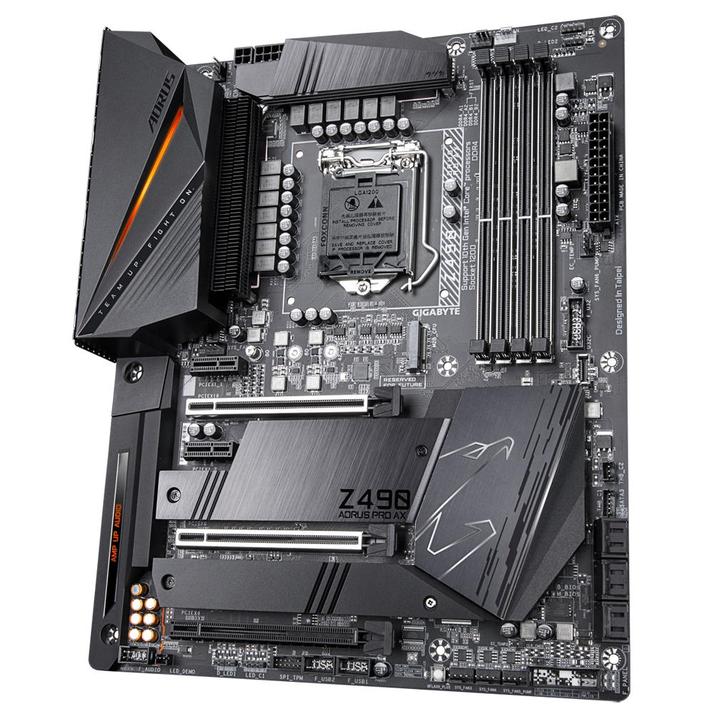 Gigabyte Z490 AORUS PRO AX Mainboard, Direct 12+1 Phases Digital VRM Design, Comprehensive Thermal Solution with Fins-Array II, Intel® WiFi 6 802.11ax, Intel® 2.5GbE LAN, RGB FUSION 2.0