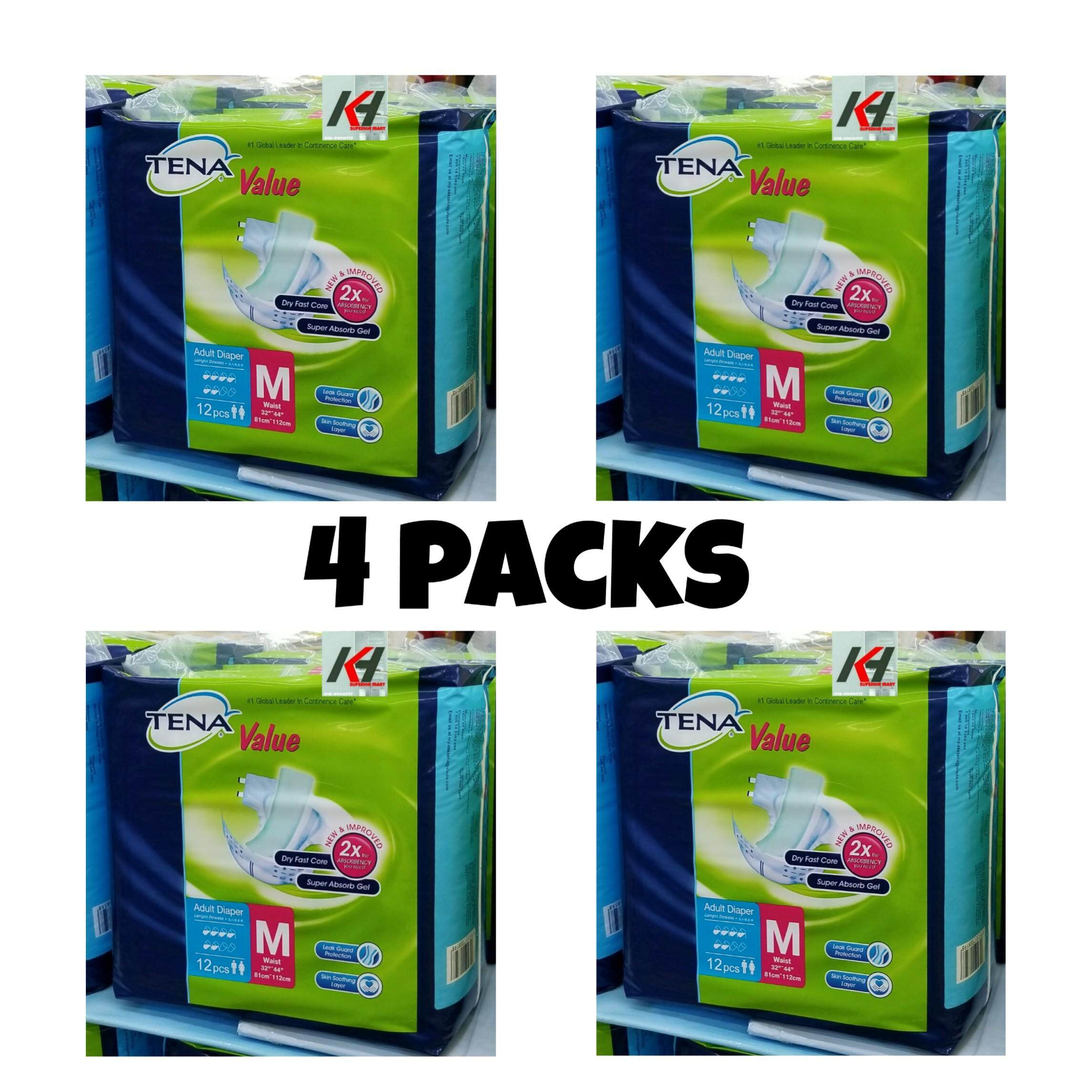 TENA VALUE ADULT TAPE DIAPER SIZE:M12 X (4 PACKS) READY STOCK