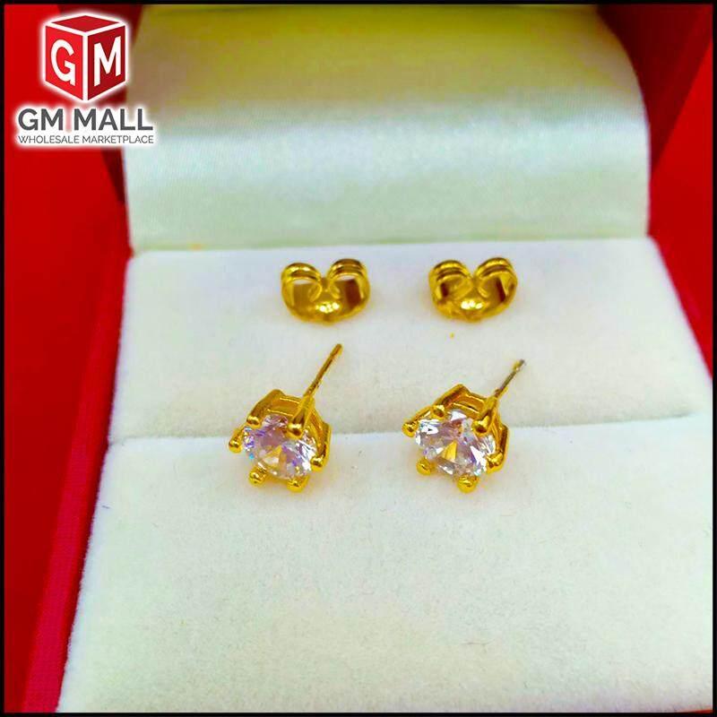 Emas Korea Jewellery - Subang Diamond Anting-Anting Zirkon Gold Plated (Earring) For Women