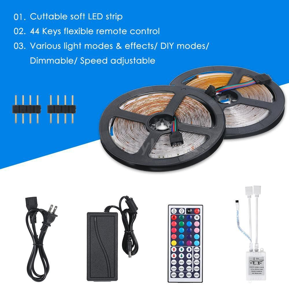 Lighting - DC12V 48W 10 Meters 600 LED RGB Strip Light with IR 44 Keys Remote Control Controller Cuttable - Home & Living
