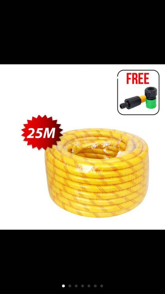 Small 10M / 25M Karyon Yellow Garden Hose UV Net PVC Hose 3MM Thickness 15mm Diameter