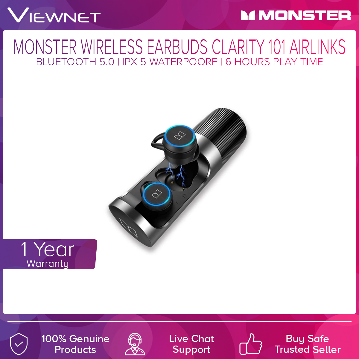 Monster Clarity 101 Airlinks IPX5 Waterproof TWS True Wireless Bluetooth 5.0 Earbuds with Charging Case/Built-in Mic/Clear Call/Secure Fit for Sports