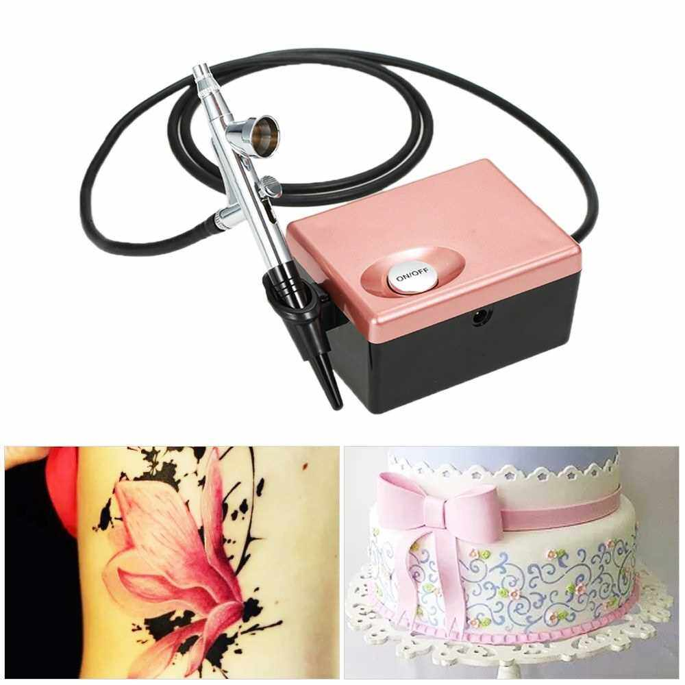 People's Choice Basic Airbrush System Professional Art Painting Kit with Mini Air Compressor (Pink)