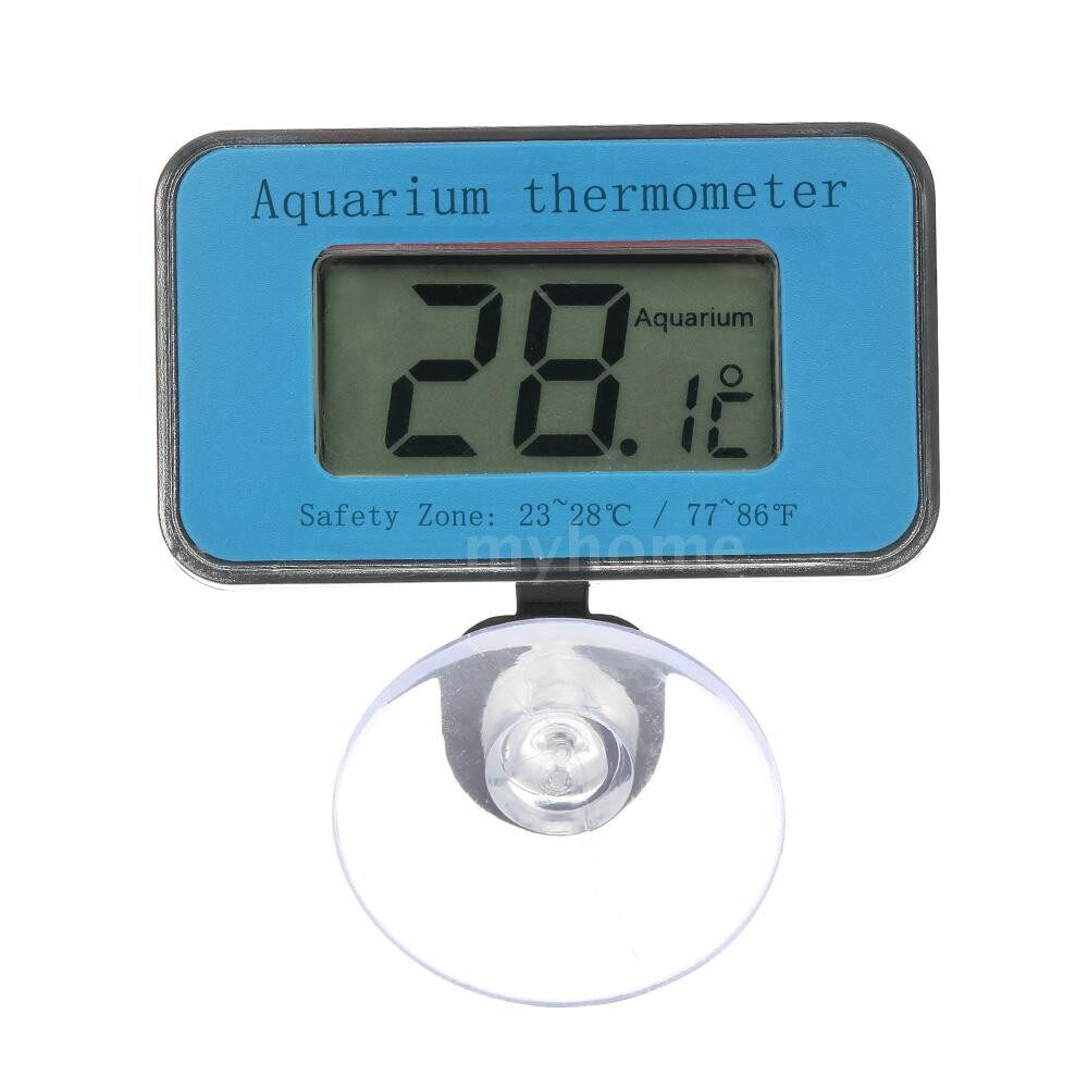 Cooling & Heating - Digital LCD Aquarium Thermometer with Suction Cup Waterproof MINI Indoor Fish Tank Thermometer - BLUE
