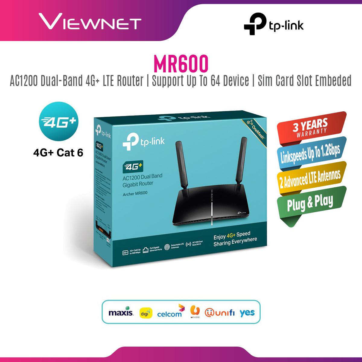 TP-Link Archer MR600 4G+ CAT6 AC1200 Dual Band Gigabit SIM Modem Wireless Mesh WiFi Router 2.4GHz+5GHz